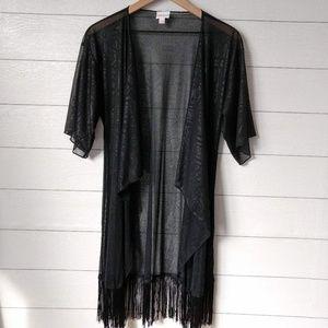 LuLaRoe Sheer Fringe Kimono Cover-Up S